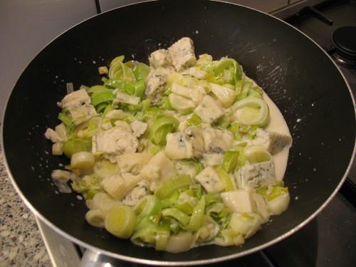 Pasta met prei en gorgonzola